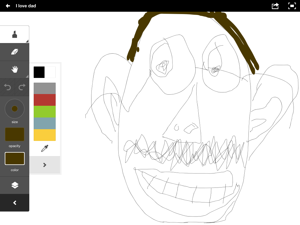My daughter Ludi's drawing of me, created in Adobe Ideas on an iPad 2.