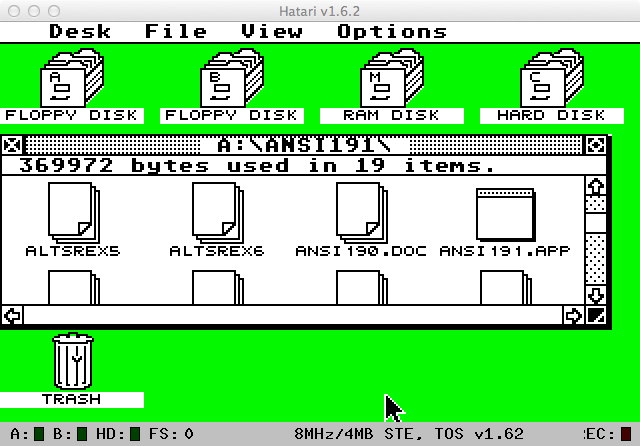 My Atari ST desktop, as seen in the Hatari emulator.