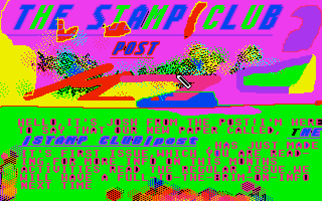 "A psychedelic ad for newspaper called the ""Stamp Club Post,"" which I created in  Neochrome as a kid. I don't design newspapers this way anymore. Maybe I should."