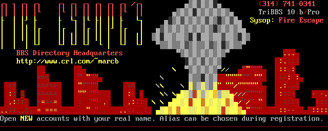 ANSI logon screen for Fire Escape's BBS Directory Headquarters.