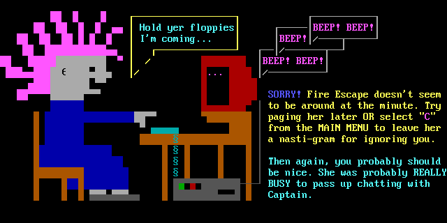Users who wanted to chat with Fire Escape when she wasn't online would be greeted with this ANSI screen on her BBS.