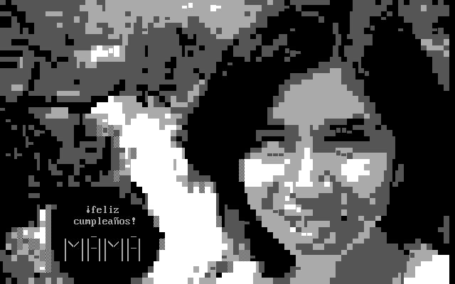 ANSI screen for my wife's birthday, created using ANSIrez.