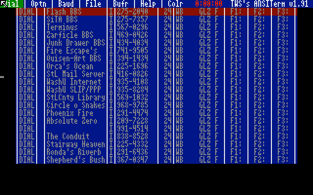 "My BBS dialing directory in the terminal program ""ANSITerm"" for the Atari ST."
