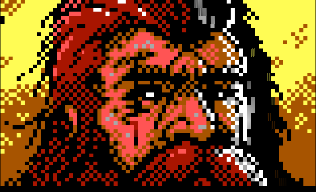 "Screen capture of the intro to the Moria section of the BBS door game ""From Here to Eternity."" ANSI art by Luciano Ayres / Enzo of Blocktronics."