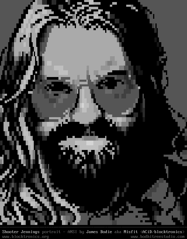 Shooter Jennings portrait in ANSI, by James Bodie / Misfit for Blocktronics.