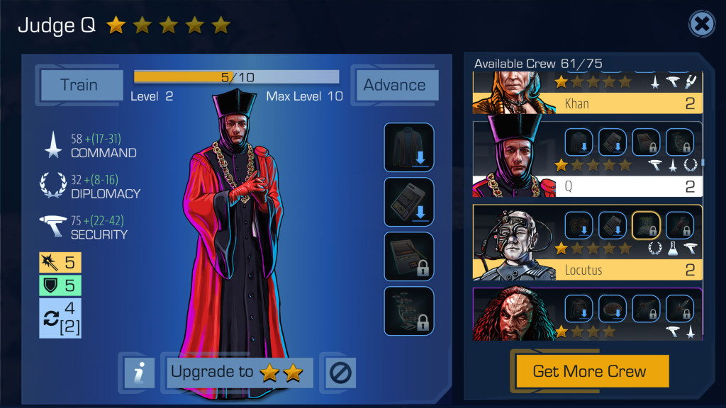A screen capture of a character stats page in Star Trek Timelines