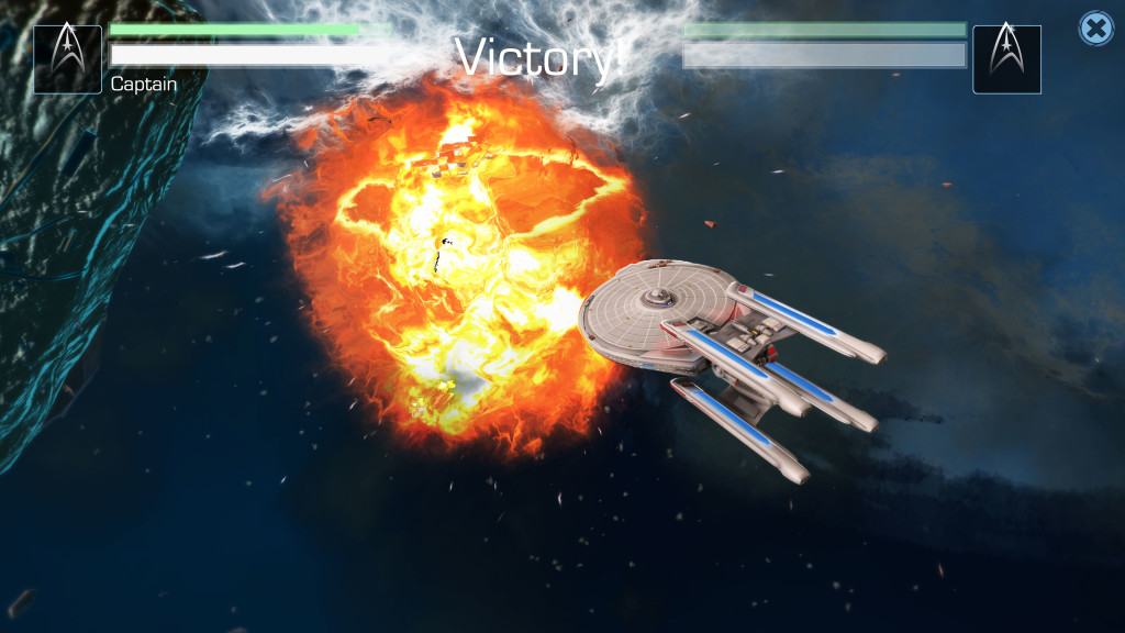 A screen capture of a ship combat in Star Trek Timelines