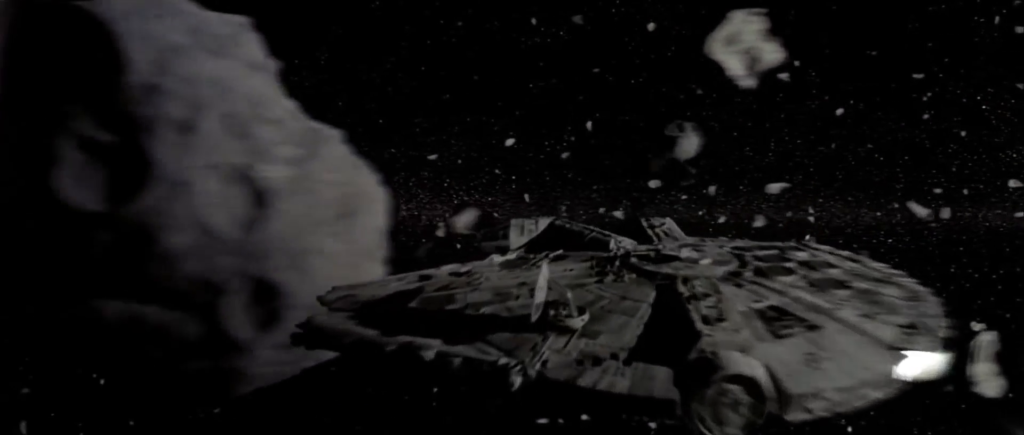 "A screen capture of the asteroid field sequence in ""The Empire Strikes Back."""