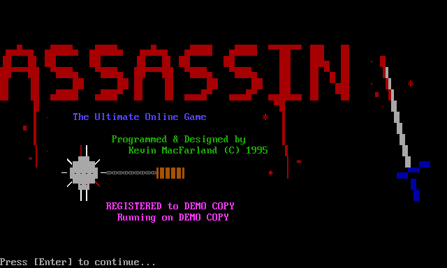 Title screen of the PC version of 'Assassin.'