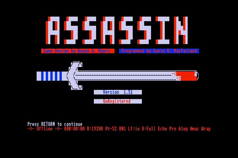 Title screen of the Atari ST version of 'Assassin.'